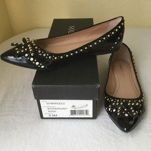 Sole Society Studded Bow Patent Leather Flat Shoe